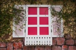 Finestre rosa e bianche romantiche Fotografia Stock Libera da Diritti