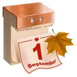 Fing 1. September Fall an Abreisskalender und gelbes Ahornblatt Lizenzfreies Stockfoto