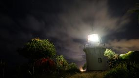 Fingal Head Lighthouse Timelapse. A 13 second timelapse of the Fingal Head Lighthouse with the clouds passing by and the stars in the night sky. Taken at Fingal stock video