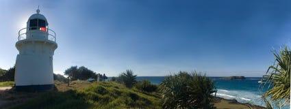 Fingal LightHouse & Cooke Island panorama. Fingal LightHouse facing over ocean at Cooke Island, NSW, Australia royalty free stock photos