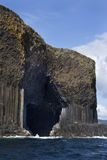 Fingals Cave - Staffa - Scotland. Basalt rock formation and Fingals Cave on the island of Staffa in the Treshnish Islands in the Inner Hebrides off the west Stock Image