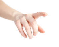 Finger. Hand touching screen isoleated on white Stock Photos