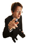 Finger. Funny businessman pointing with finger Stock Photo