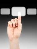 Finger. Pushing button on grey background Stock Photo