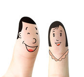 Finger. Men and women happy facial expressions Stock Photography