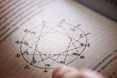 Finger of the alchemist, on the book with spells, runes, pentagr Royalty Free Stock Images