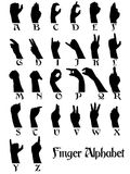 Finger alphabet. Silhouette Illustration of human fingers alphabet Royalty Free Stock Photo