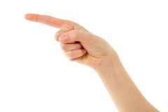 Finger arrow showing gesturing female hands Royalty Free Stock Photo