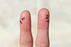 Finger art of couple. Couple after an argument looking in different directions.  Royalty Free Stock Photo