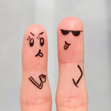 Finger art of couple. Couple shows languages to each other. Royalty Free Stock Image