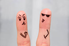 Finger art of couple of swears, shows the languages to each other. Royalty Free Stock Photo