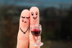 Finger art of couple. Woman is upset, man drunk. Finger art of couple. Woman is upset because man drunk Royalty Free Stock Photos