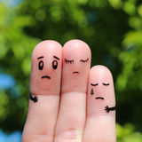 Finger art of displeased family. Concept of solution to the problems of family. Stock Image