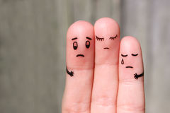 Finger art of displeased family. Concept of solution to problems Stock Photography