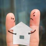 Finger art of family during quarrel. Stock Photos