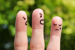 Finger art of family during quarrel. Stock Photo
