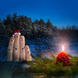 Finger art of friends celebrates Christmas. Stock Photography