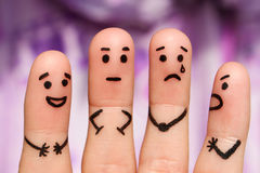 Finger art of people. concept of people with different personalities. Royalty Free Stock Photos