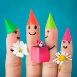 Finger art of friends. Group of children at birthday party.