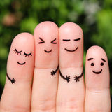 Finger art of friends laughing. Stock Photo