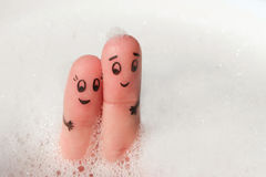 Finger art of Happy couple bathe in bath Royalty Free Stock Photography