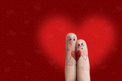 Finger art of a Happy couple. Lovers is embracing and holding re Royalty Free Stock Image