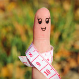 Finger art of a Happy couple with meter. Royalty Free Stock Photography