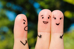 Finger art of people. concept of man scolds couple, they laugh. Royalty Free Stock Images