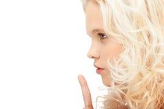 Finger auf Lippen Stockbild