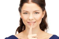 Finger auf Lippen Stockfotografie