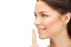 Finger auf Lippen Lizenzfreie Stockbilder