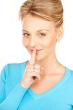 Finger auf Lippen Stockbilder