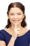 Finger auf Lippen Lizenzfreie Stockfotografie