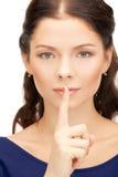 Finger auf Lippen Lizenzfreie Stockfotos