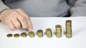 Finger auf Münzen stock video