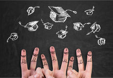 Finger  with bachelor hat Royalty Free Stock Images