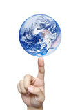 Finger balancing Globe isolated Stock Image