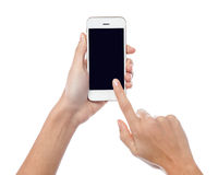 Finger being pointed on tablet screen Stock Images