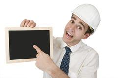 Finger on black board Royalty Free Stock Image