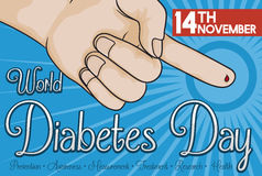 Finger with Blood Drop Measuring Glucose in World Diabetes Day, Vector Illustration Stock Photography