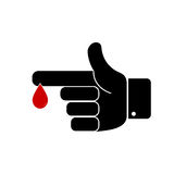 Finger with blood drop. Vector illustration  on white background Royalty Free Stock Image