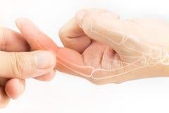 Finger bone pain. White background stock photo