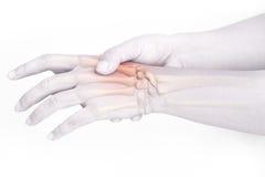 Finger bone pain. White background stock image
