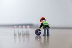 Finger bowling with children`s toys Royalty Free Stock Photography