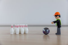 Finger bowling with children`s toys Stock Photography