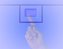 Finger on Button. Finger about to push a button.Image soft and muted Royalty Free Stock Photography