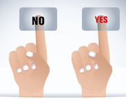 Finger and button yes/no. Hand pushing a button on a touch screen interface Stock Images