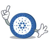 Finger Cardano coin character cartoon. Vector illustration Stock Images