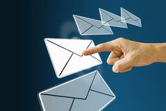 Finger choose and push the mail icon Stock Photography