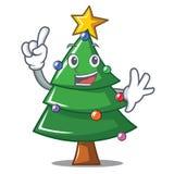 Finger Christmas tree character cartoon. Vector illustration Royalty Free Stock Photography